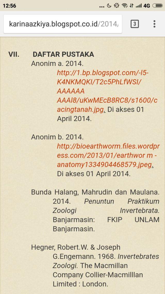 Q And A Contoh Penulisan Daftar Pustaka Laporan Praktikum Biologi Dari Blog Online Bioearthworm